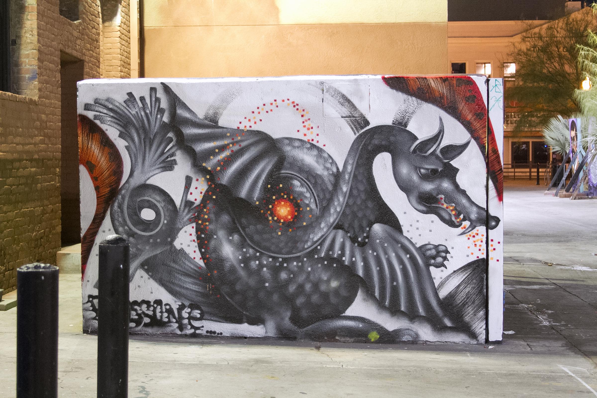 Santa Ana graffiti dragon